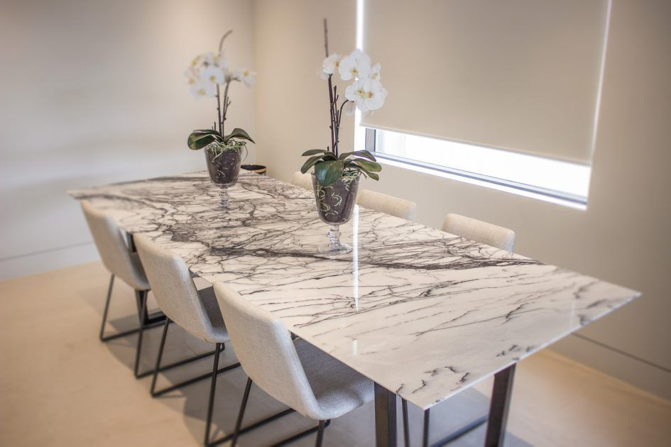 Dining Room Long Marble Table For 6 Chairs Above Large Carpet Floor Around White