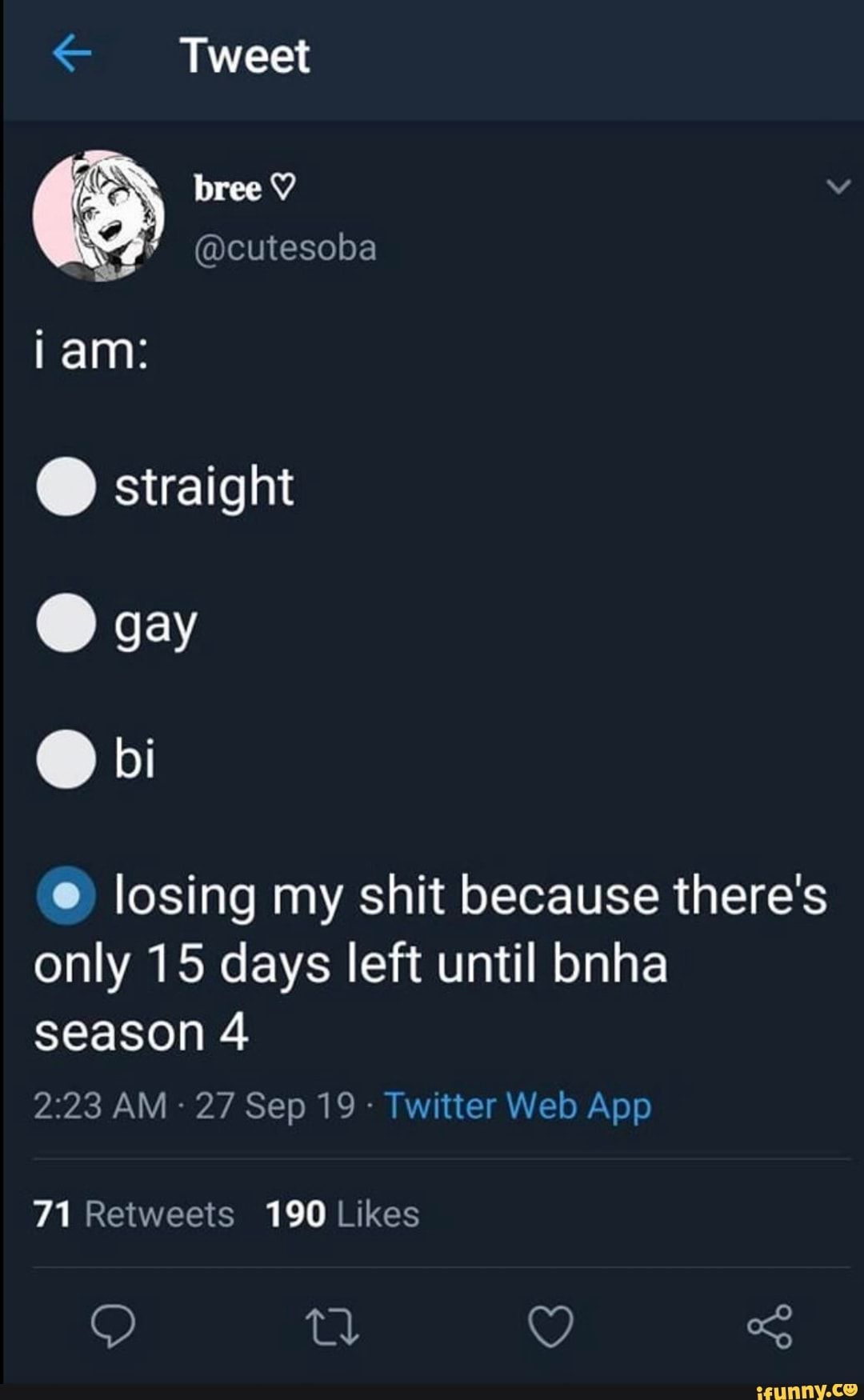 E Tweet Losing My Shit Because There S Only 15 Days Left Until Bnha Season 4 Ifunny My Hero Academia Memes My Hero Academia Manga My Hero