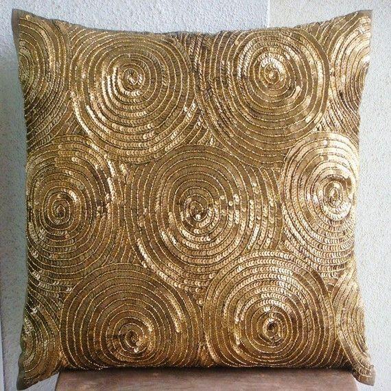 handmade gold pillow cushion art silk