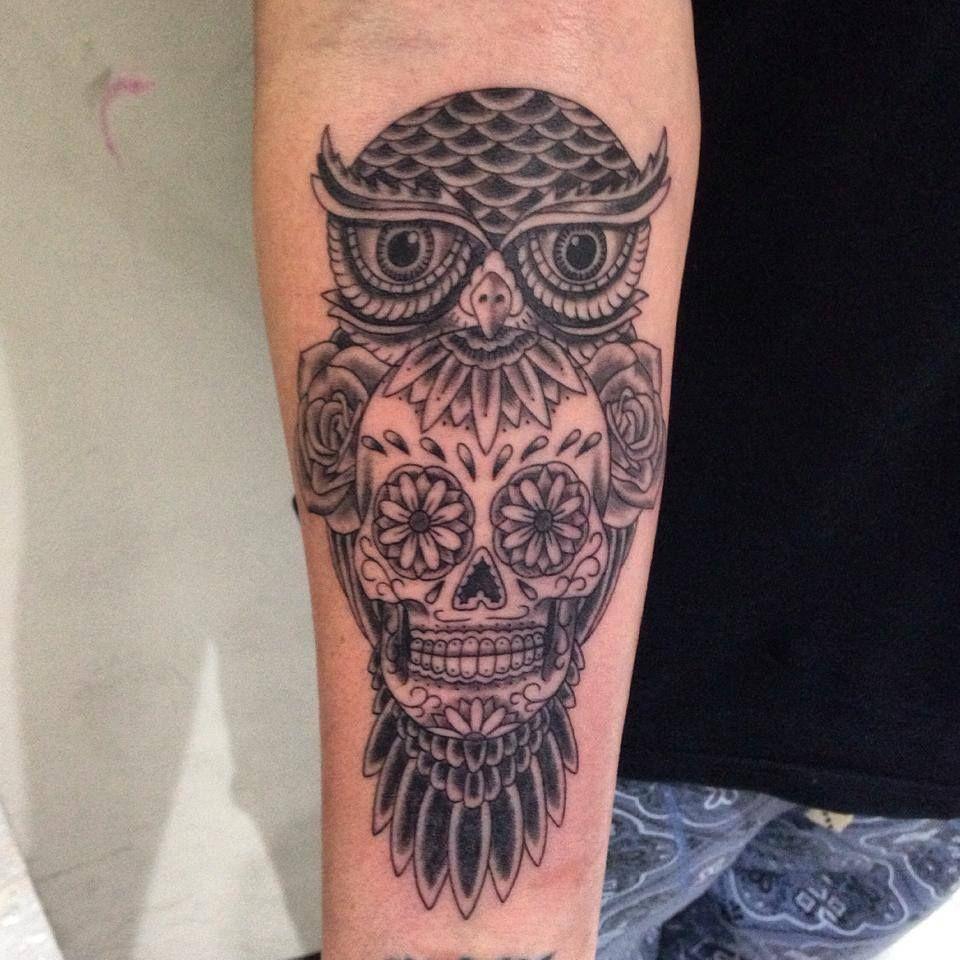Owl and sugar skull tattoo tattoo owl pinterest for Owl with sugar skull tattoo
