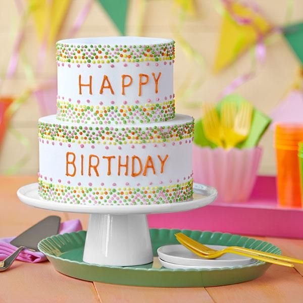 Easy Birthday Cake with Colorful Polka Dots Cheerful polka dots