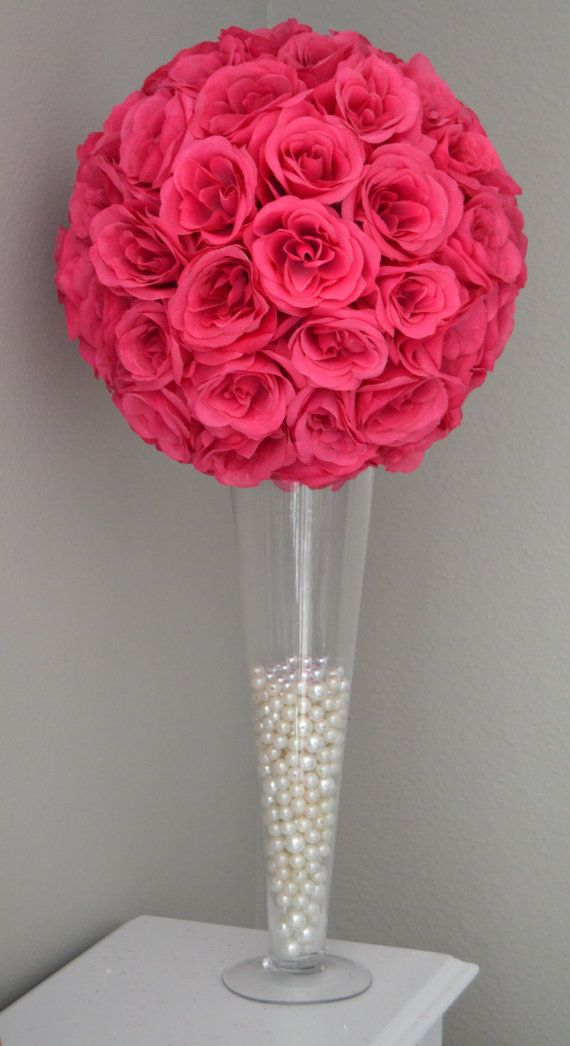 Fuchsia Hot Pink Flower Ball Wedding Centerpiece Kissing Ball