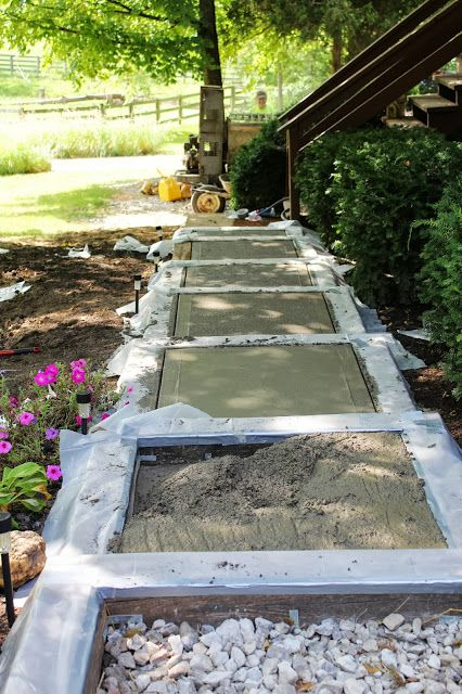 Building A Side Walk Building A Walk On A Slope Diy Sidewalk Using Salvaged Items To Frame A