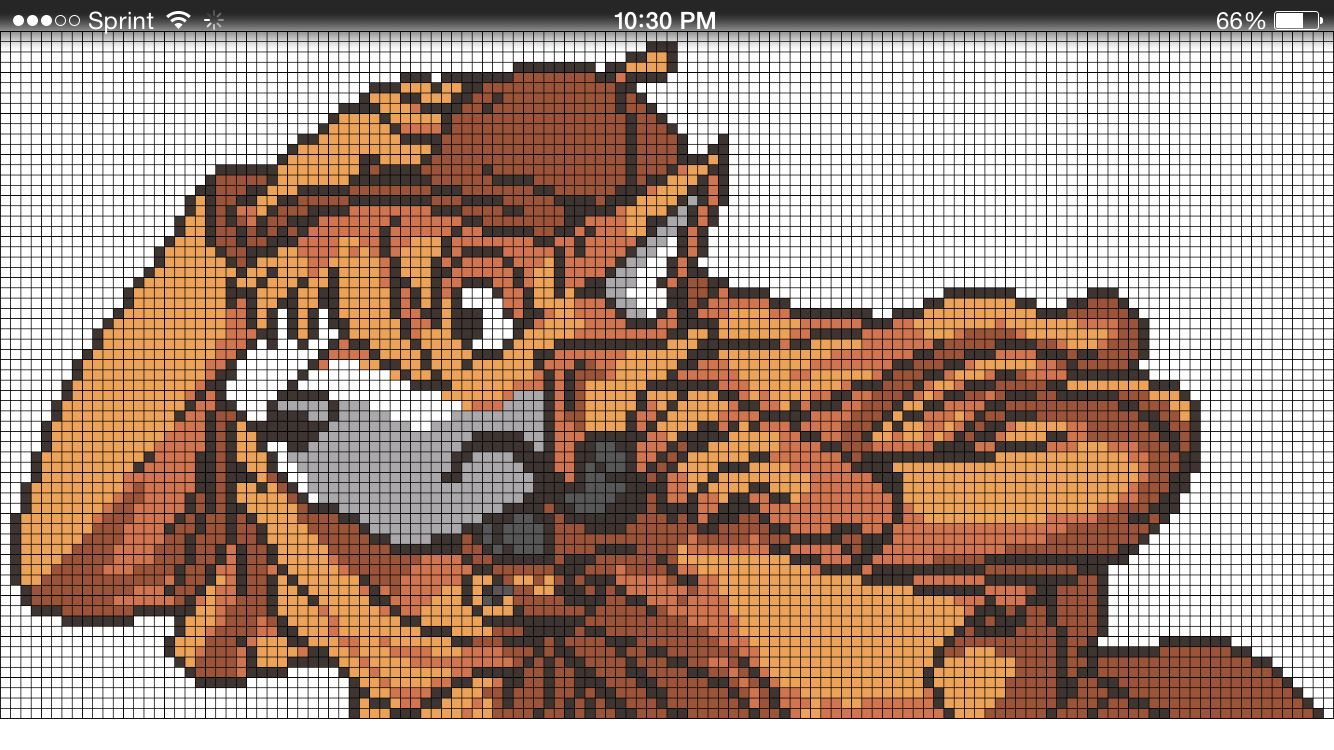 Fox wolf Sherlock homes perler bead/cross stitch / crochet pattern