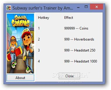 Subway Surfers  4 Trainer 1.0 - A handy  4 trainer that is built for the Subway Surfers game which you can use to unlock unlimited coins