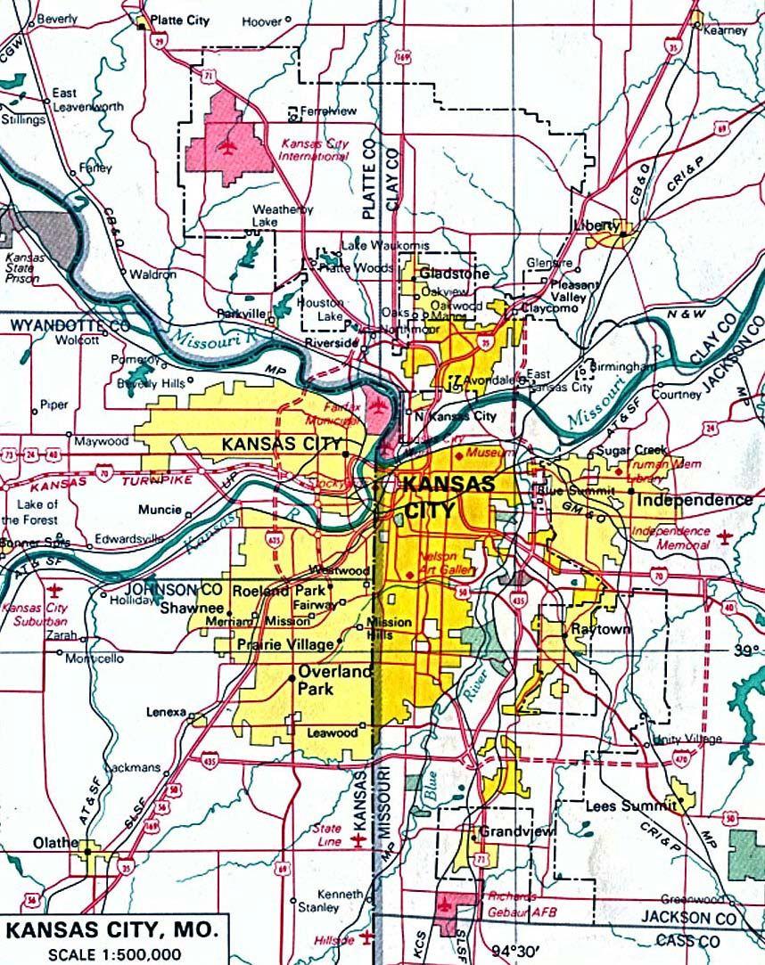 Kansas Map With Cities Kansas City Map | High Quality Maps of Kansas City | Kansas city