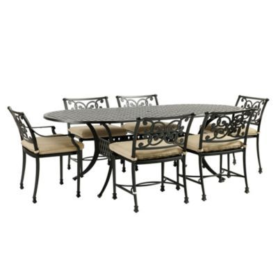 Amalfi 7 Piece Oval Dining Set With Cushions Outdoor Furniture Rustic Outdoor Furniture Outdoor Furniture Collections