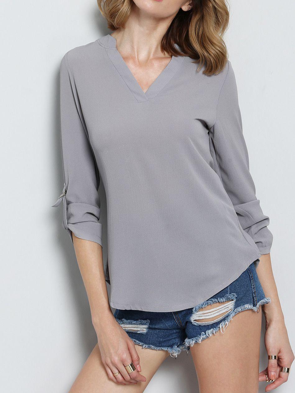 Blusa+cuello+V+asimétrica+-gris+9.01