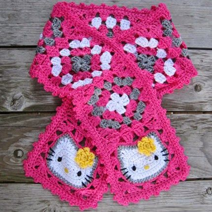 Crochet For Children: Hello Kitty Granny Square Scarf - Free Pattern ...