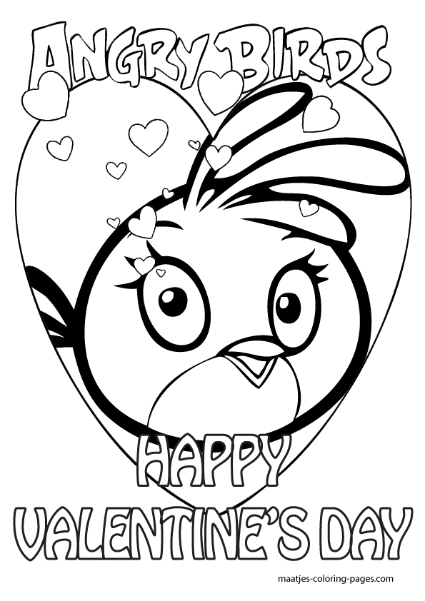 valentines coloring pages  Angry Birds Valentines Day coloring
