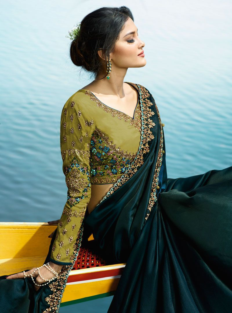1f582d200f Buy Blue Color Barfi silk designer party wear saree in UK, USA and Canada