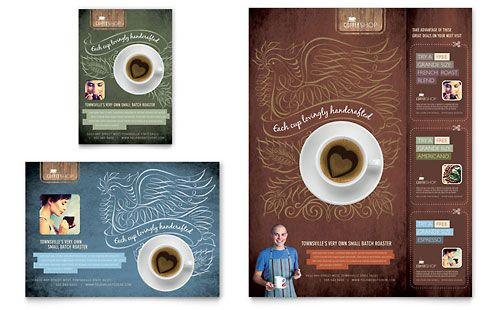 Coffee Shop - Flyer \ Ad Template Design Sample Inspirationen - coffee shop brochure template