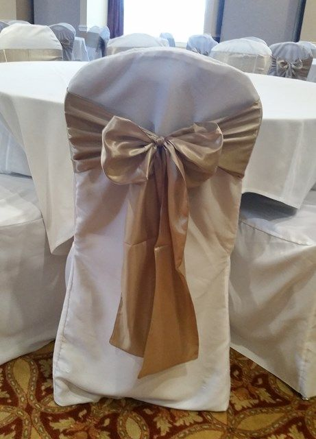Cuccino Champagne Satin Sashes Ties On White Chair Covers