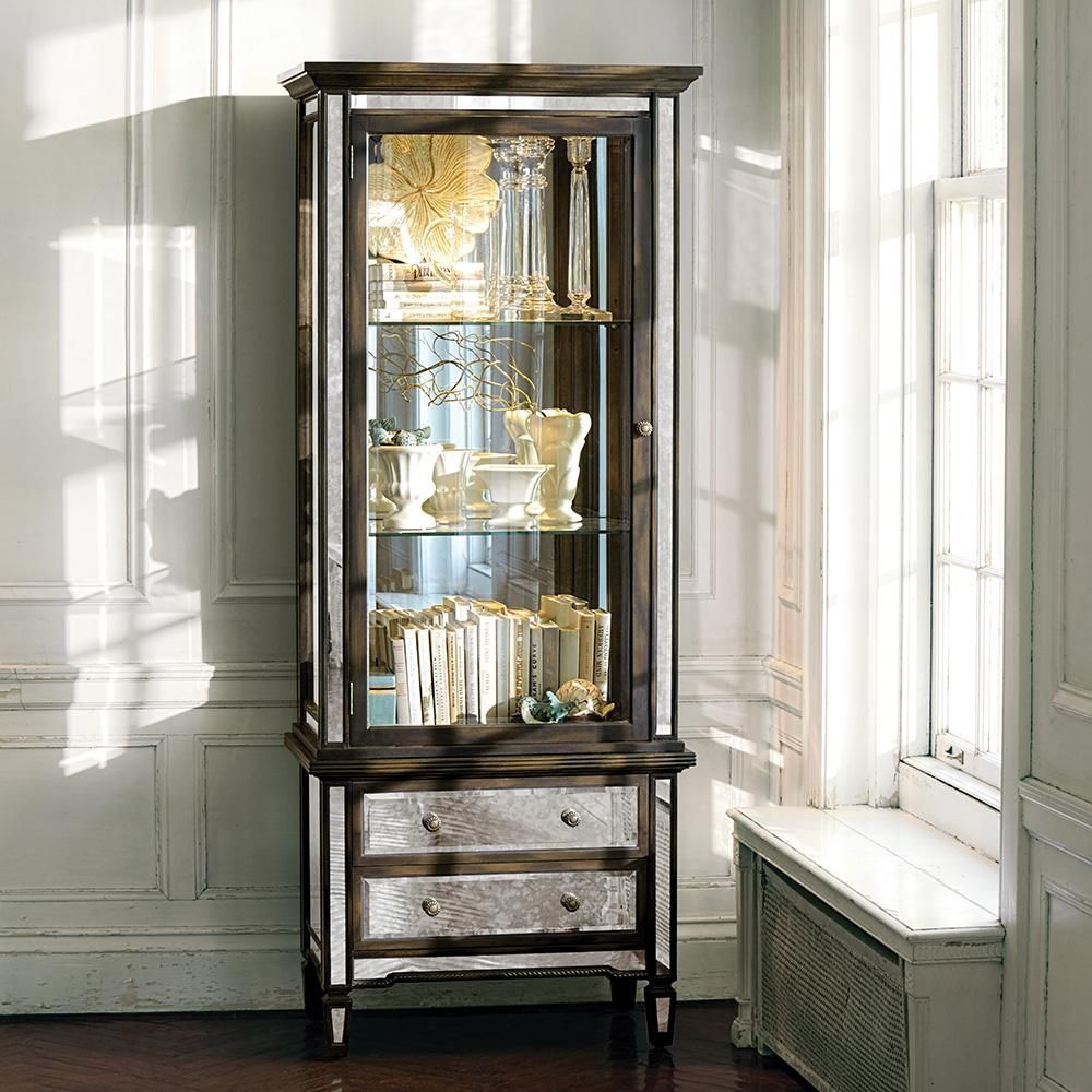 Mirrored Cabinets Living Room Isla Mirrored Curio Cabinet Arhaus New Arrivals Pinterest