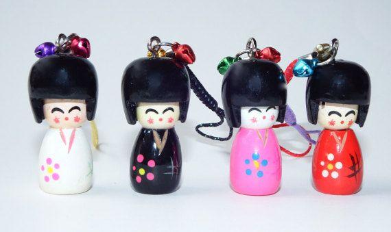 Small Wooden Kokeshi Doll Charms