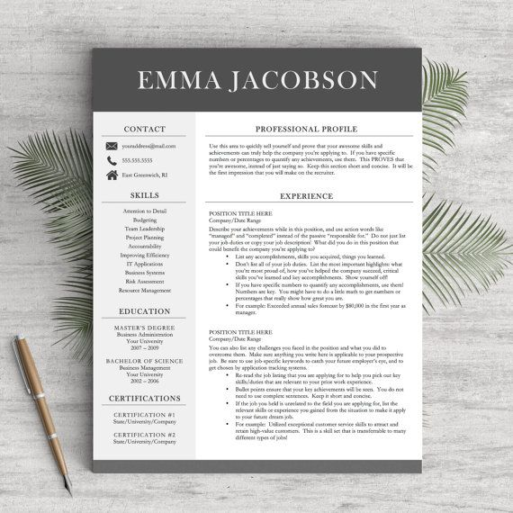 Modern Resume Template for Word and Pages, 1 - 3 Pages + Cover