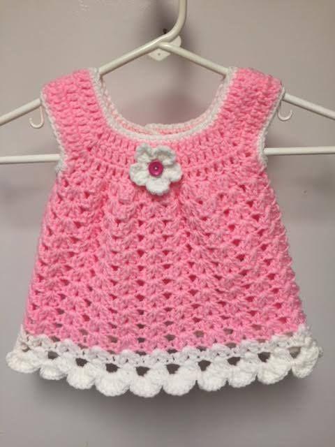 Handmade Crocheted Baby Girl, Pink, White, Sun Dress, Size 3 - 6 months #HandmadeCrocheted #Casual