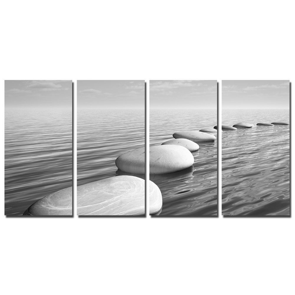 Sea Charm Black And White Seascape Wall Picture For Home And Office Decor Basalt Zen Stone Canvas Art Stret Flower Canvas Wall Art Wall Canvas Canvas Wall Art