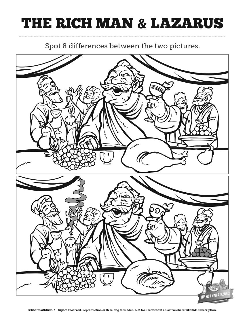 Luke 16 Lazarus and the Rich Man Kids Spot The Difference