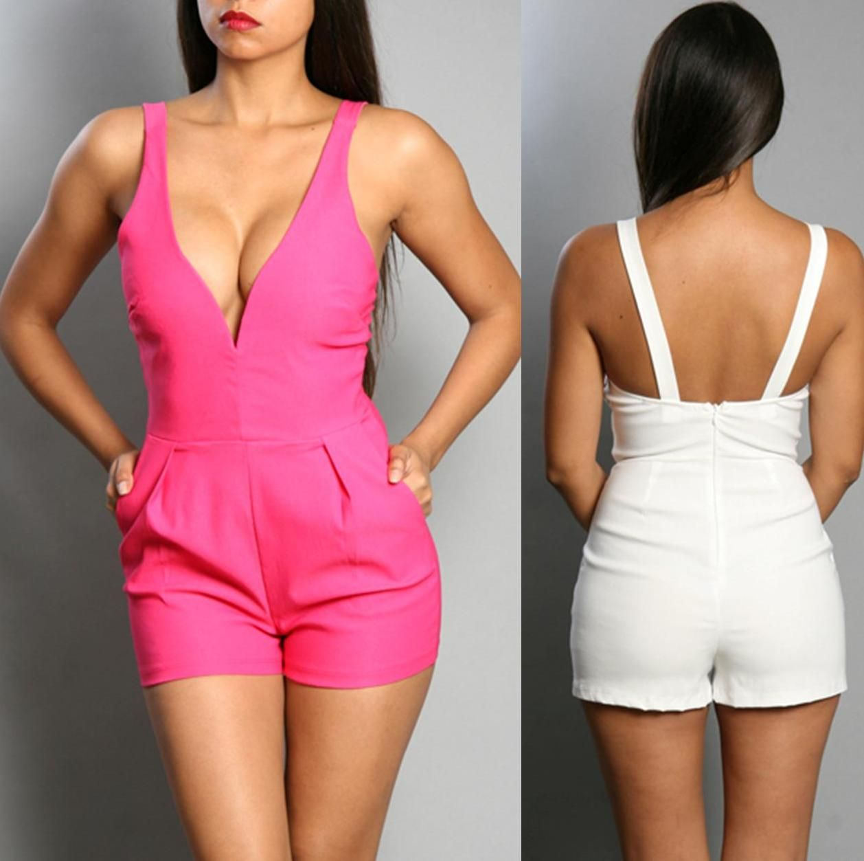 96ed4f24a69 Low Neckline - Low Back Romper - Sleeveless - Fits True To Size - Side  Pockets - Zipper Back Closure Comes in your pick of fuchsia