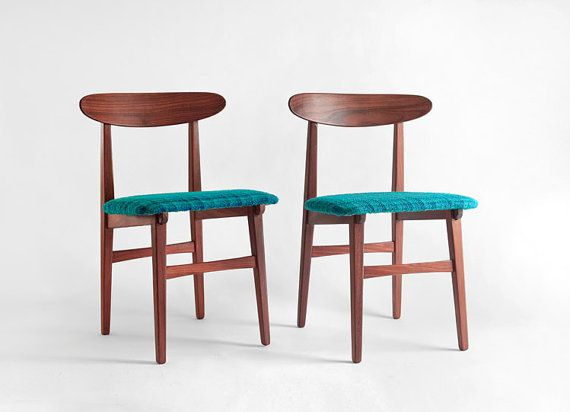 Mid Century Teak Wood Chairs Modern Dining Danish By Hindsvik. I Like The  Upholstery.