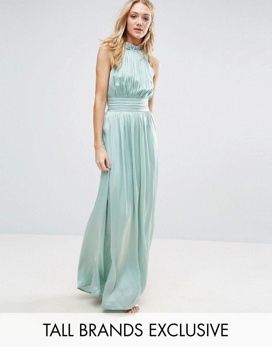 Little Mistress Tall Ruched Pleated Maxi Prom Dress - Green ...
