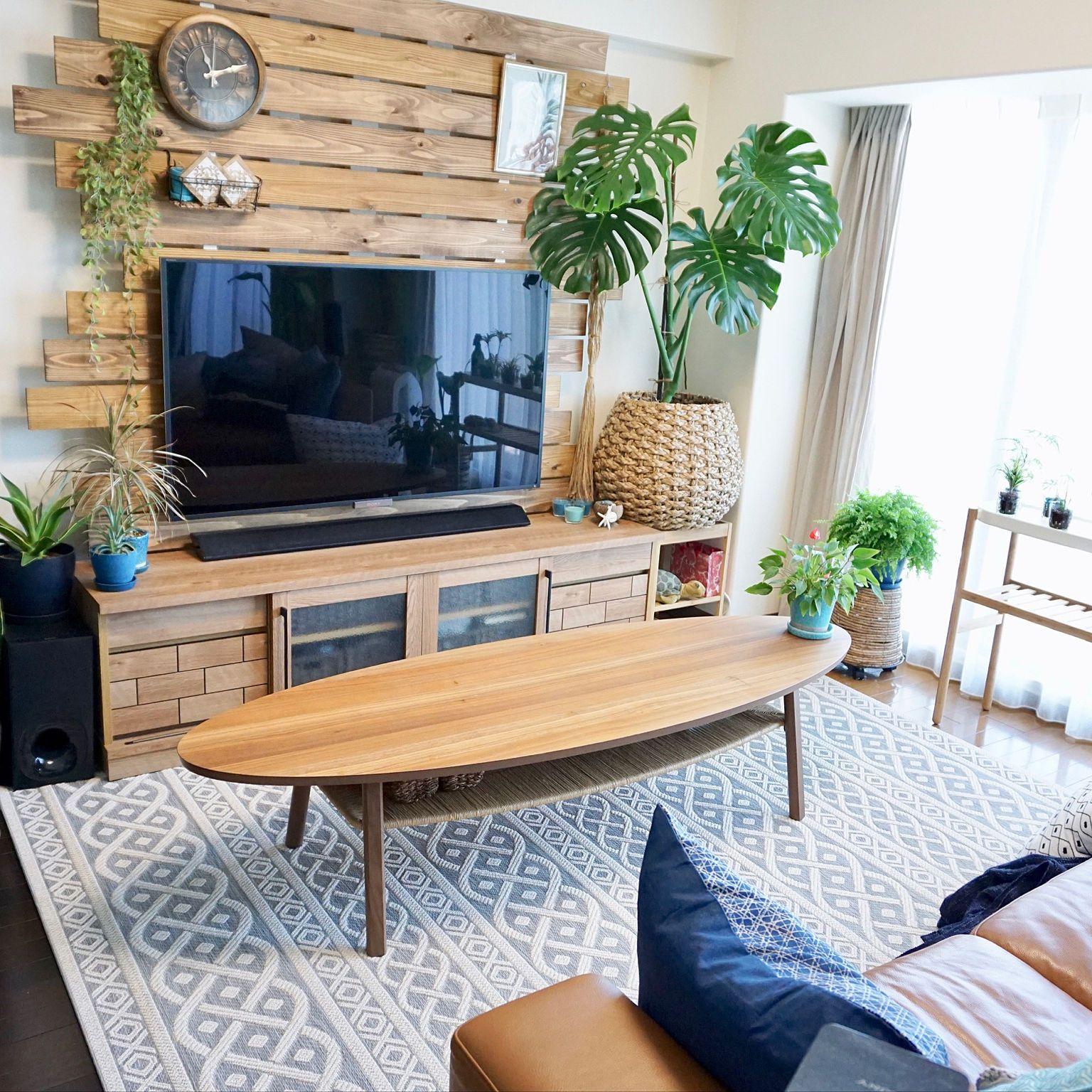 テレビ台 フェイクグリーン 壁掛け時計 シダ植物 コーヒーテーブル などのインテリア実例 2018 05 21 11 37 33 Roomclip ルームクリップ インテリア リビング インテリア リビングルームのデザイン