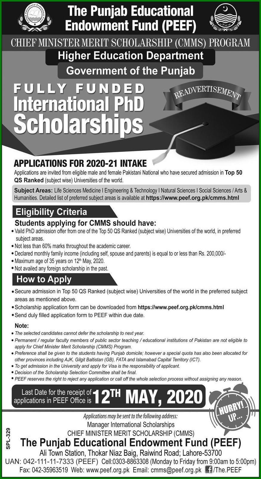 Peef Chief Minister Merit Scholarship Cmms Programs 2020 In 2020 Scholarships Scholarships Application Top Universities