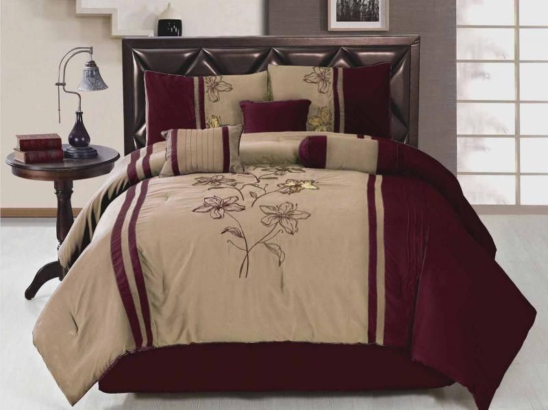 7 Piece King Size Comforter Set Embroidered Floral Burgundy Beige Bed In A Bag King Size
