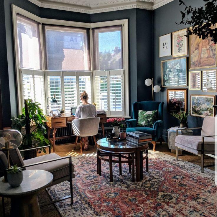 Office, Bay Windows, Area Rug, Dark, Moody, Gallery Wall