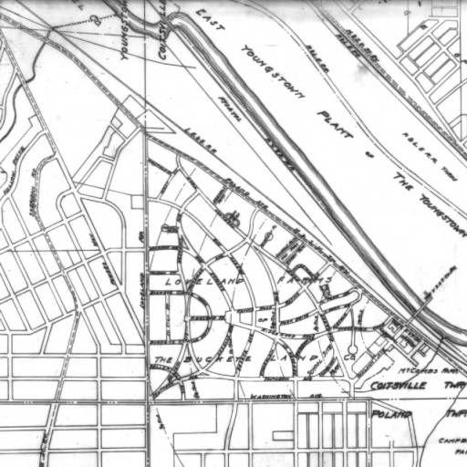 Youngstown Sheet and Tube Company and housing developments map ... on map of downtown youngstown ny, map of cleveland ohio, map of youngstown area, map of youngstown ohio streets, city of youngstown, map of ohio and pennsylvania, map of downtown youngstown ohio, map of youngstown oh, map of cleveland suburbs,