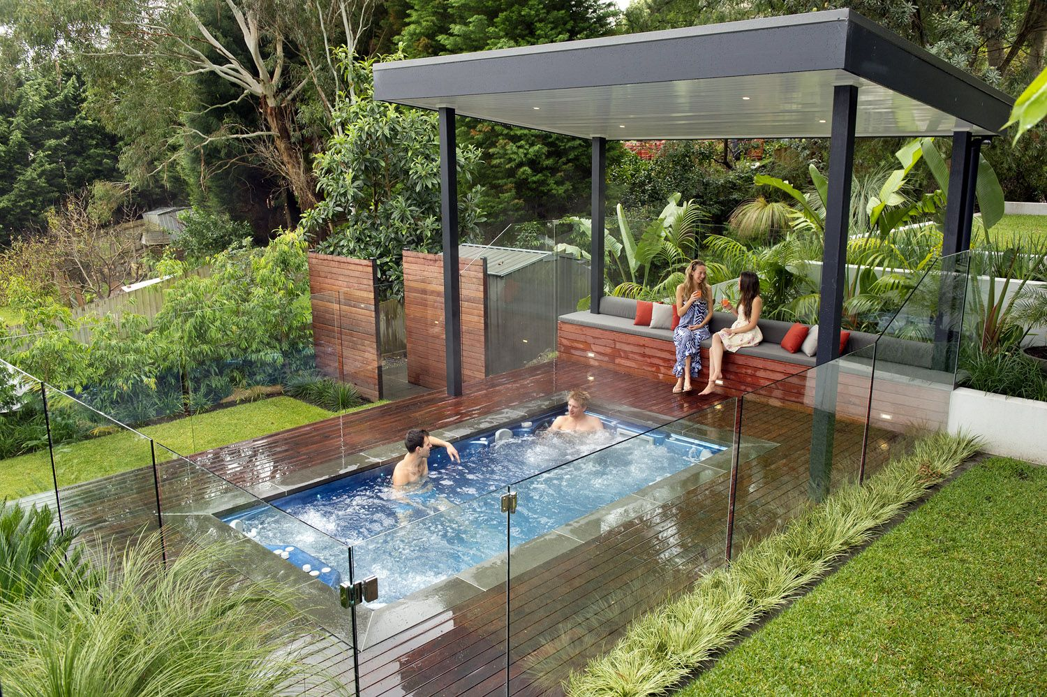 Modern nice design of the outdoor spa landscaping ideas for Pool design sloped yard
