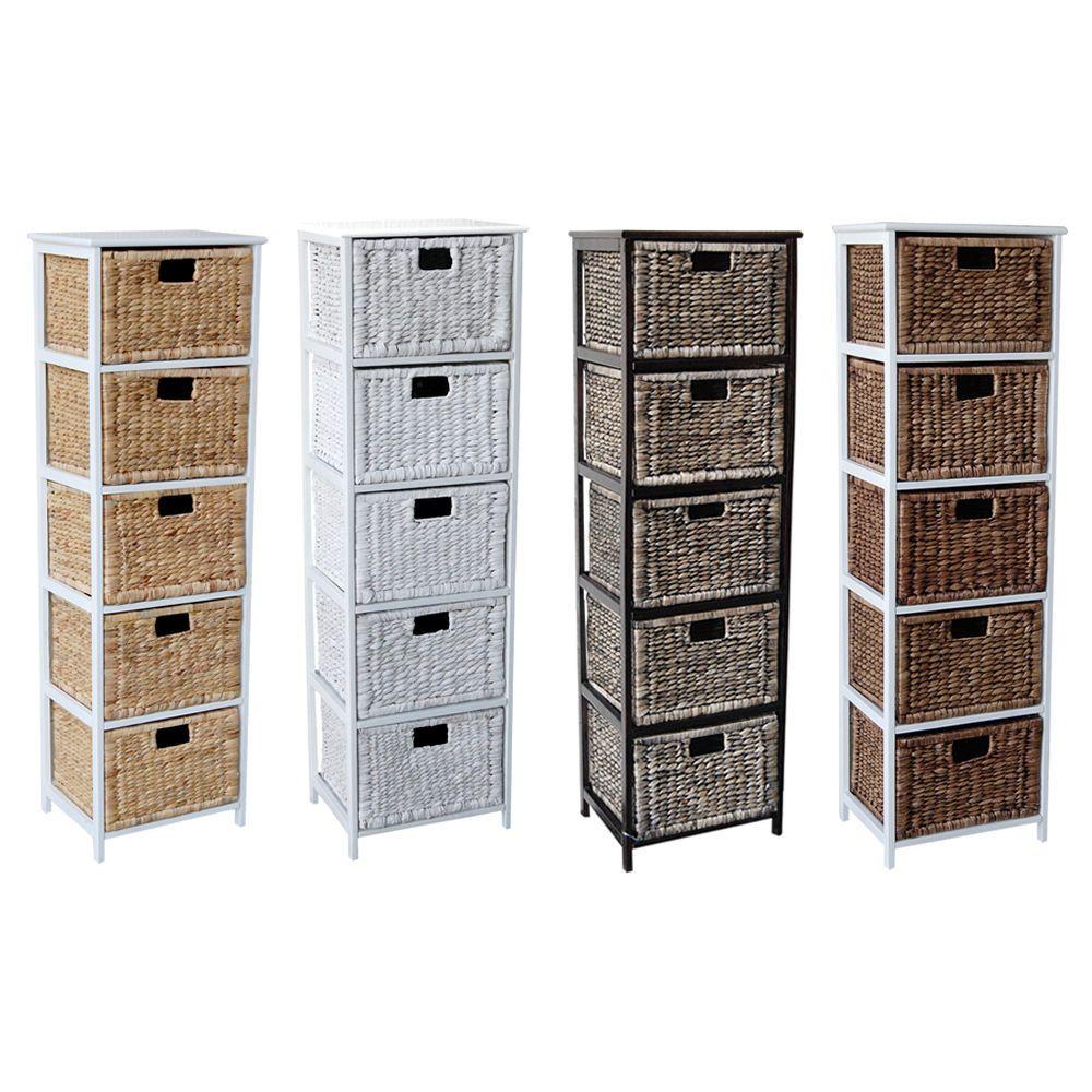 Loxley 5 Rattan Wicker Tallboy Drawer Wooden Storage Chest Choice Of Colours Wooden Storage Bathroom Storage Units Wicker Baskets Storage