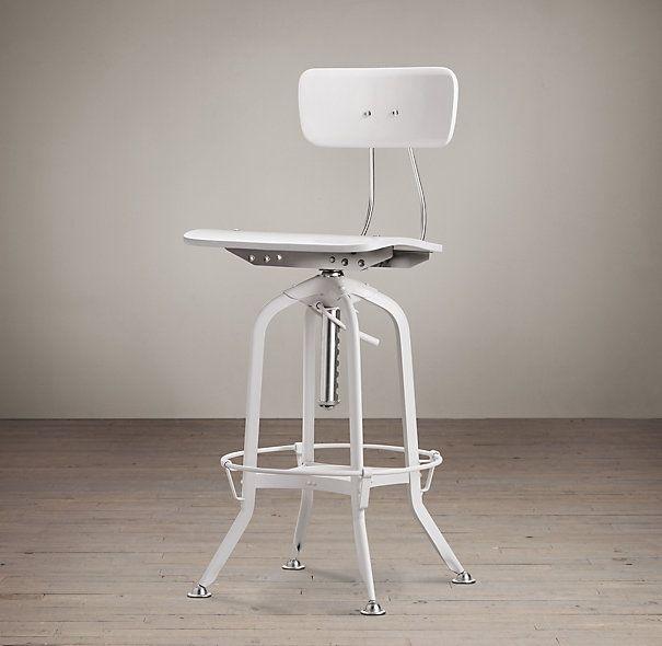 Vintage Toledo Bar Chair White Enamel