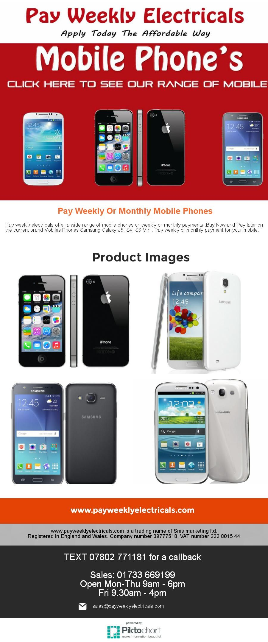 Pay Weekly Or Monthly Mobiles Phones – 01733669199 Buy the