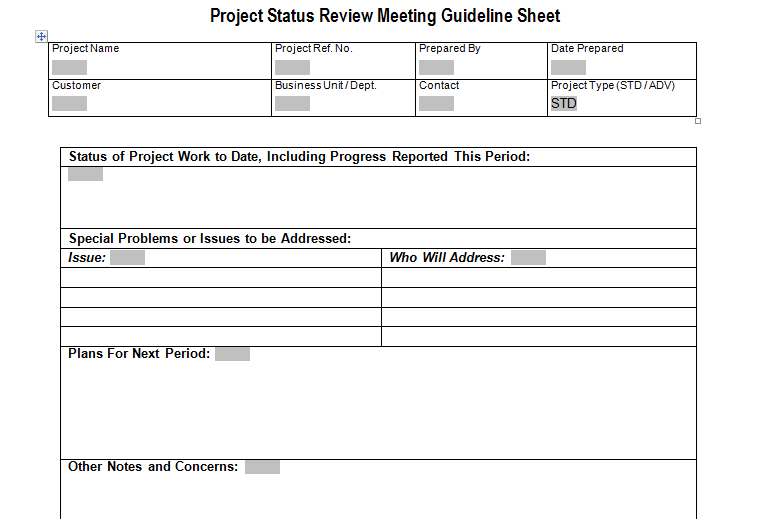 status review meeting schedule download for project