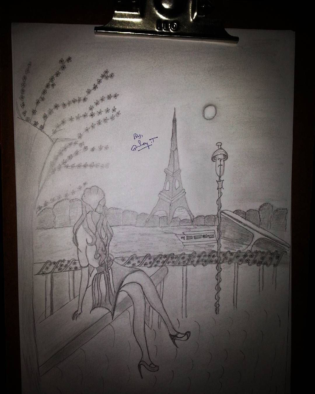 My recent pencil drawing a lady enjoying eiffel tower pencil art
