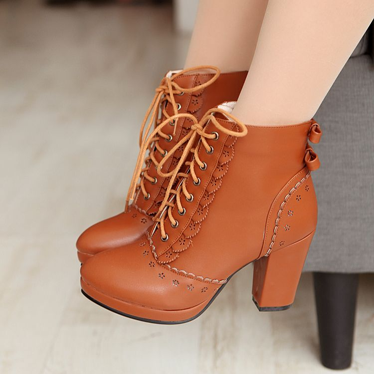 f450a074bcd08 Women's Pure Color Thick Heel Wool Shoelace Medium Length Boots ...