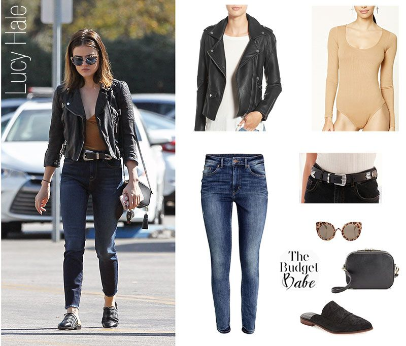 8cd126b14 Hello, Moto: Lucy Hale's Leather Jacket and Mules Look for Less ...