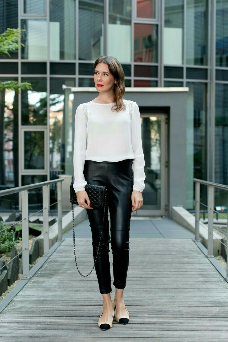 shirt, tomboy, casual, wristbands, leather pants, ankle