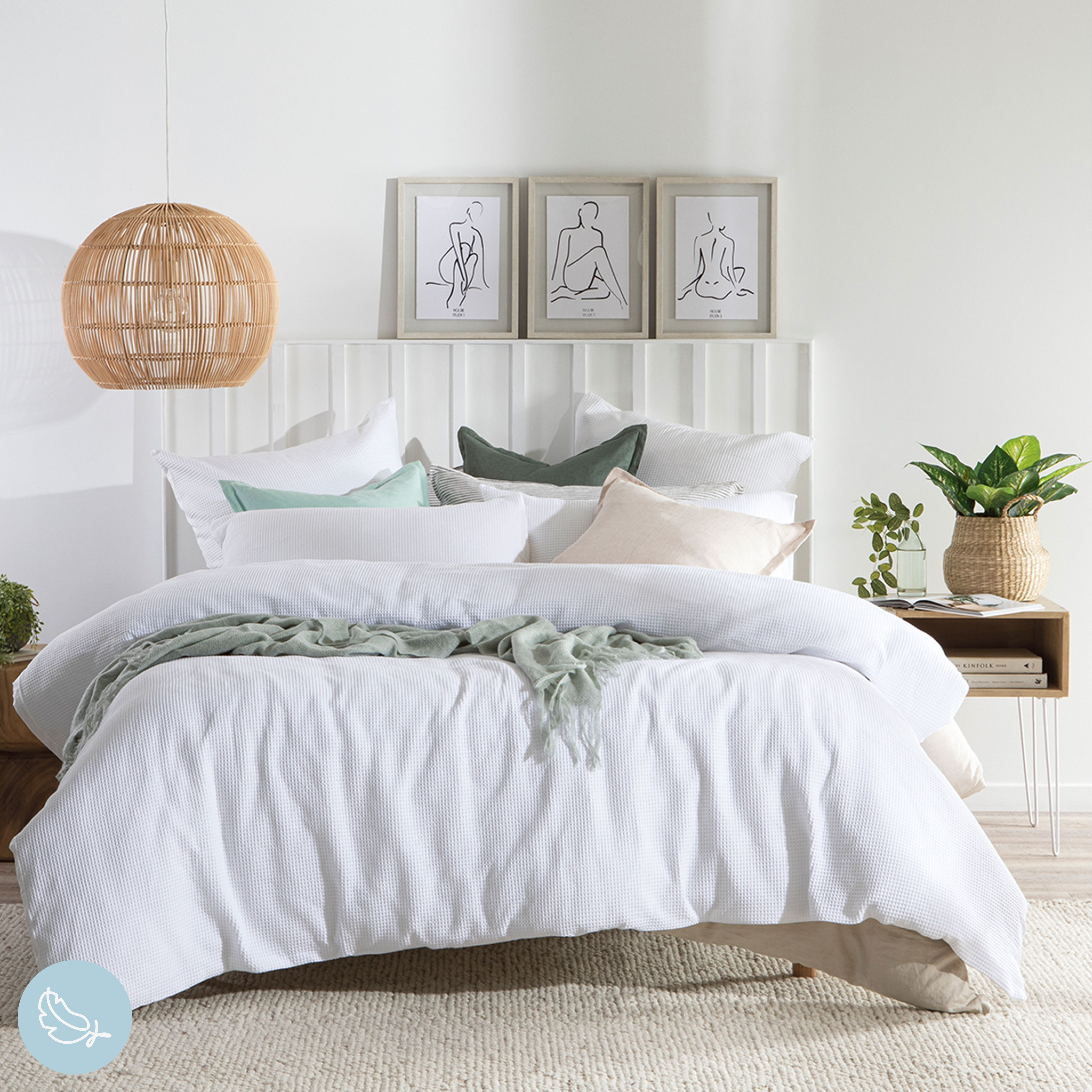 While white is a shade that can typically make your bedroom feel cooler and brighter in summer, it can also be easily styled with tonal winter shades to create a feeling of warmth during the cooler months. #PillowTalkAustralia #ForTheLoveOfComfort #bedroomdecor #bedroomstyling #quiltcoverset #quilt #bedroom #bedroomstyle #diyhomedecor