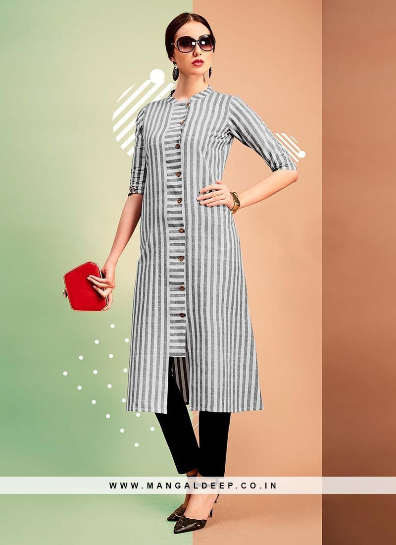 da01f2344e Soothing Grey Color Party Wear Cotton Kurti #cotton #kurti | Indian ...