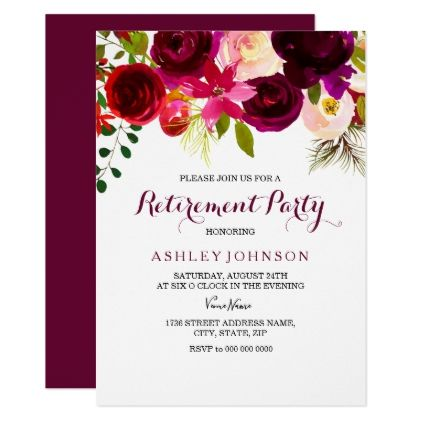 Burgundy Red Floral Boho Retirement Party Invite  Invitations