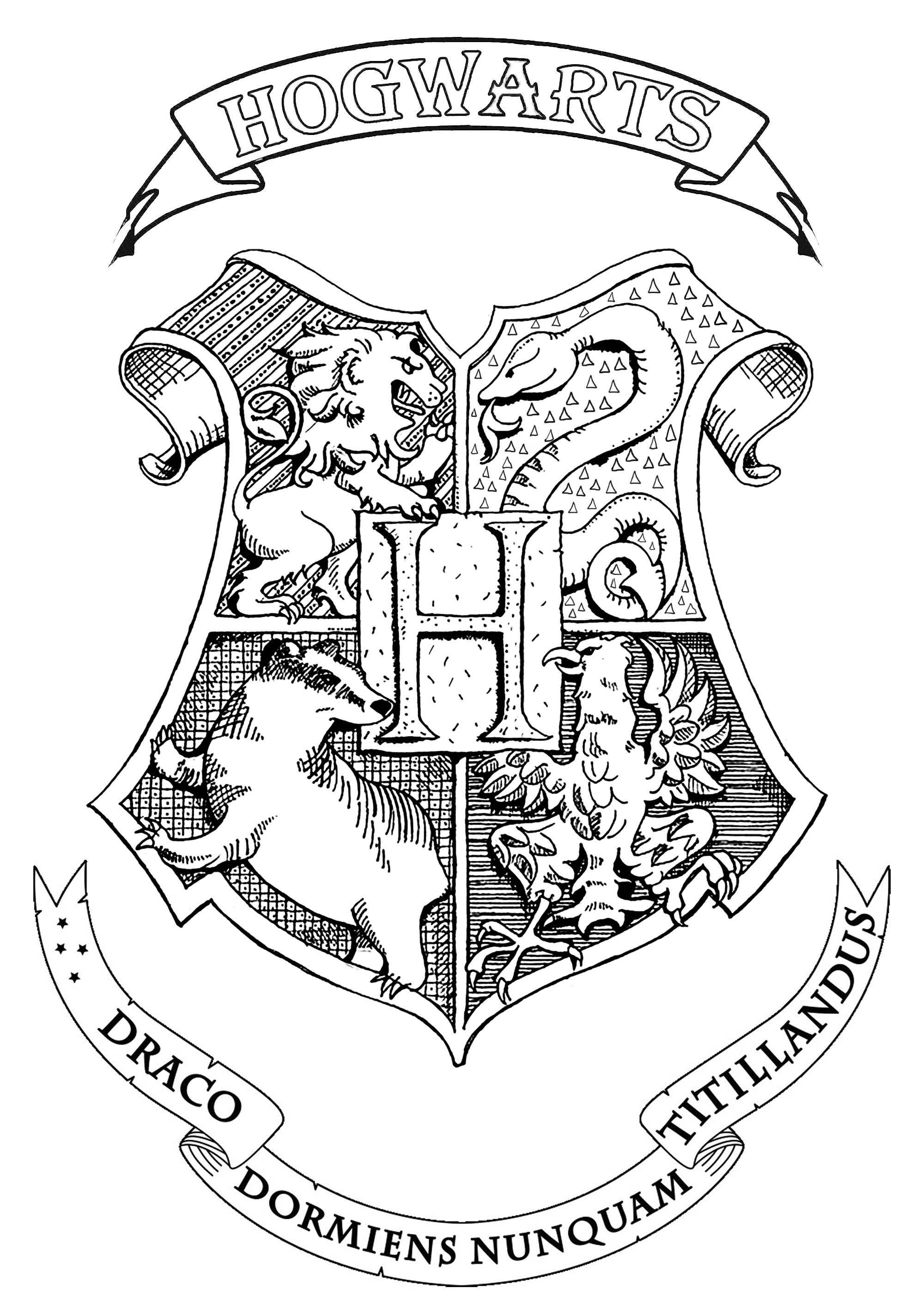 Hogwarts Logo Drawing : hogwarts, drawing, Symbol,, Emblem,, Seal,, Sign,, Hogwarts, School, Witchcraft, Wizardry, Harry, Potter, Colors,, Sketch,, Coloring