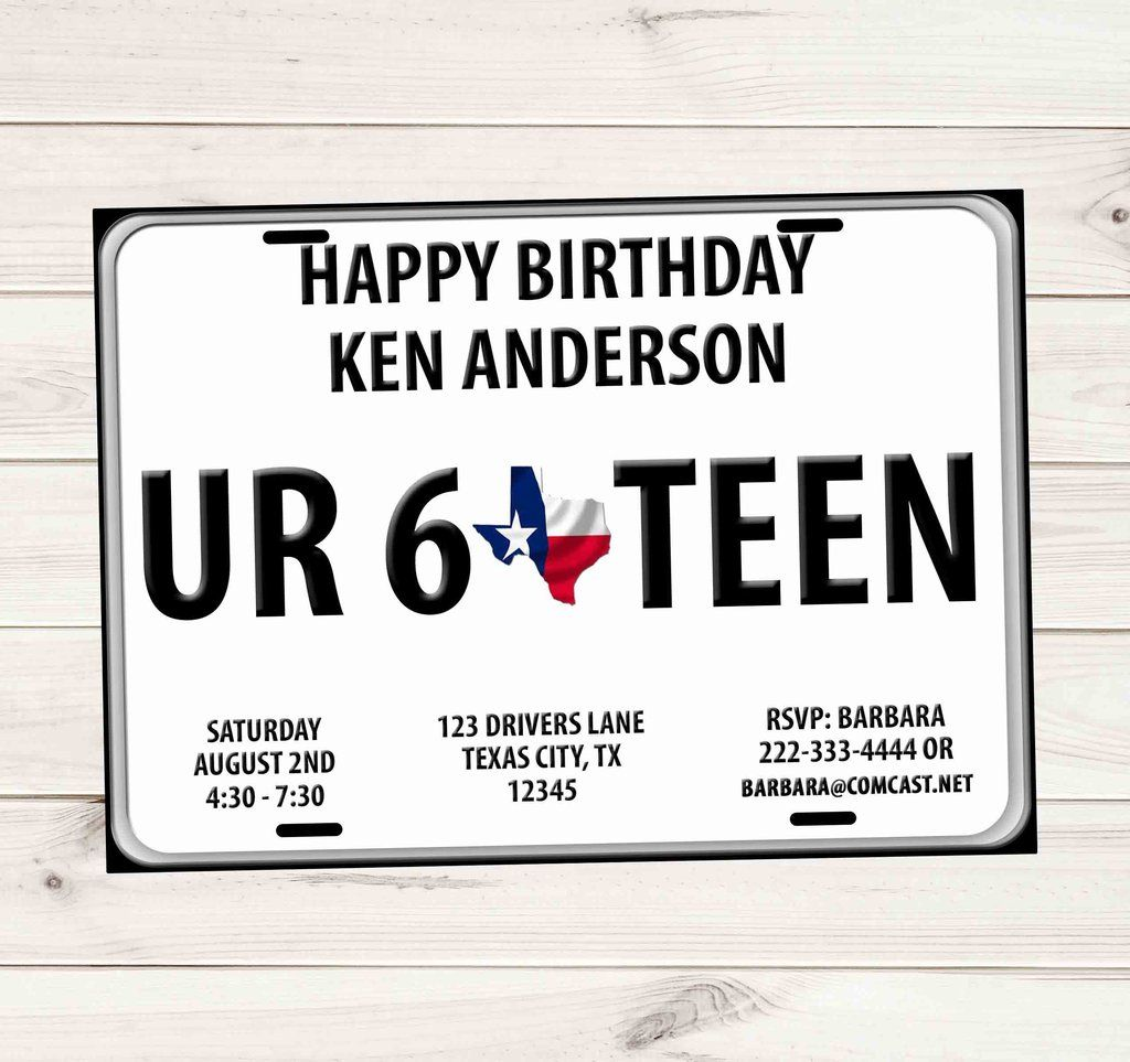 Sweet 16 driver license plate birthday invitations texas
