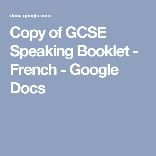 Copy Of GCSE Speaking Booklet
