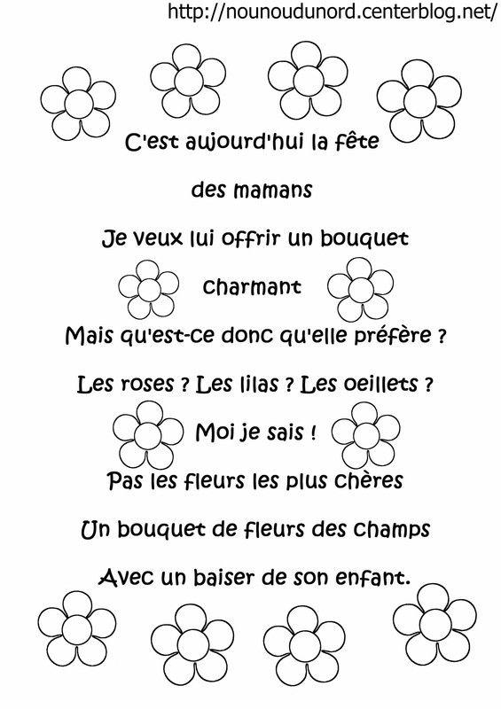 Poème à Colorier Fleurs Pour La Fête Des Mères Fête Des