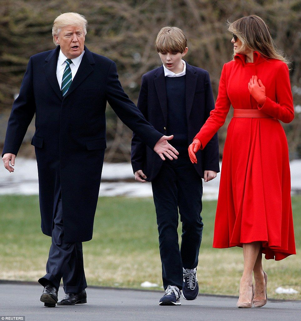 Barron and Melania listened as The President spoke on the walk out.