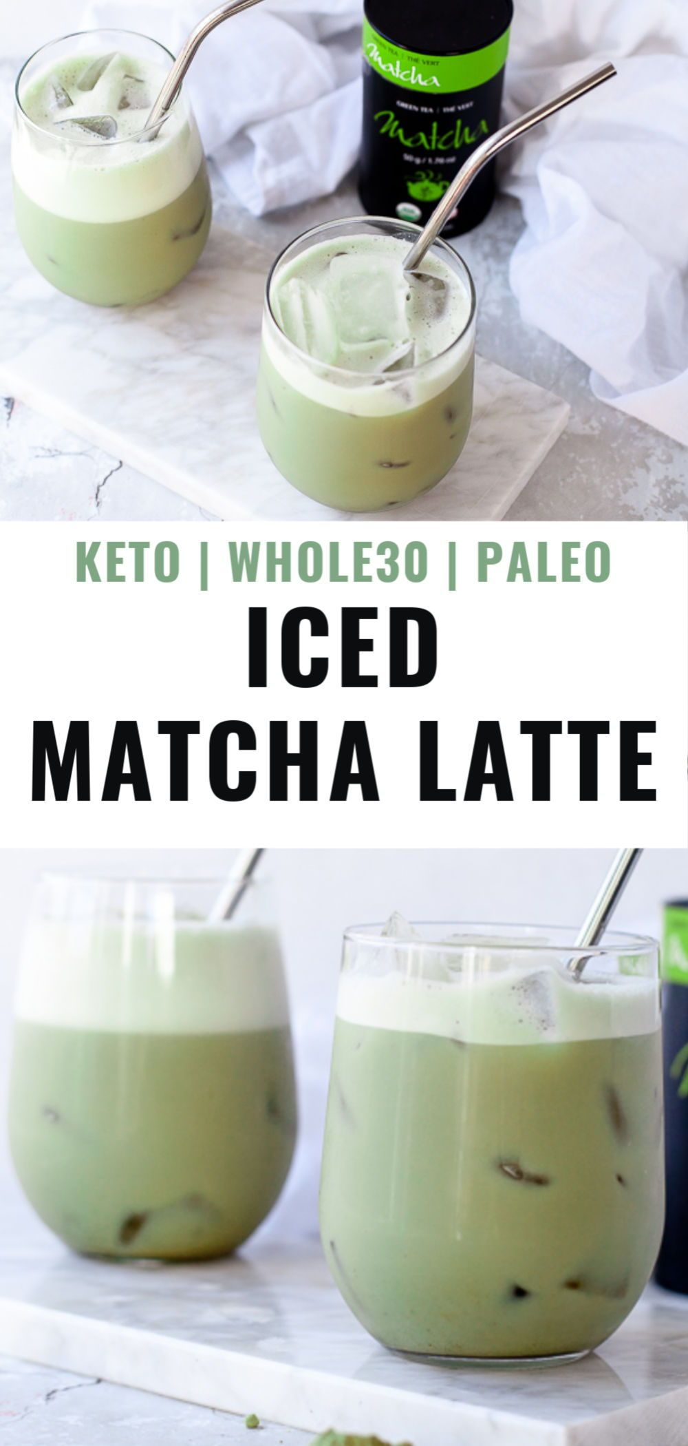 Iced Matcha Latte (keto, whole30, paleo) Recipe in 2020