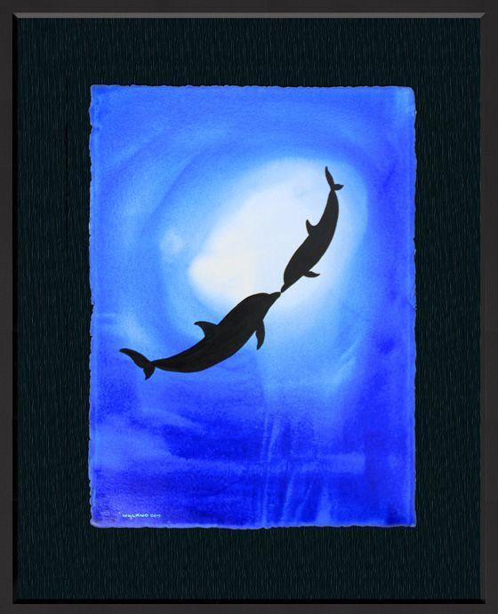 Wyland Watercolor Ocean Silhouette 33 Wyland Art